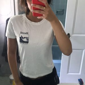 White cropped Hawaii t-shirt